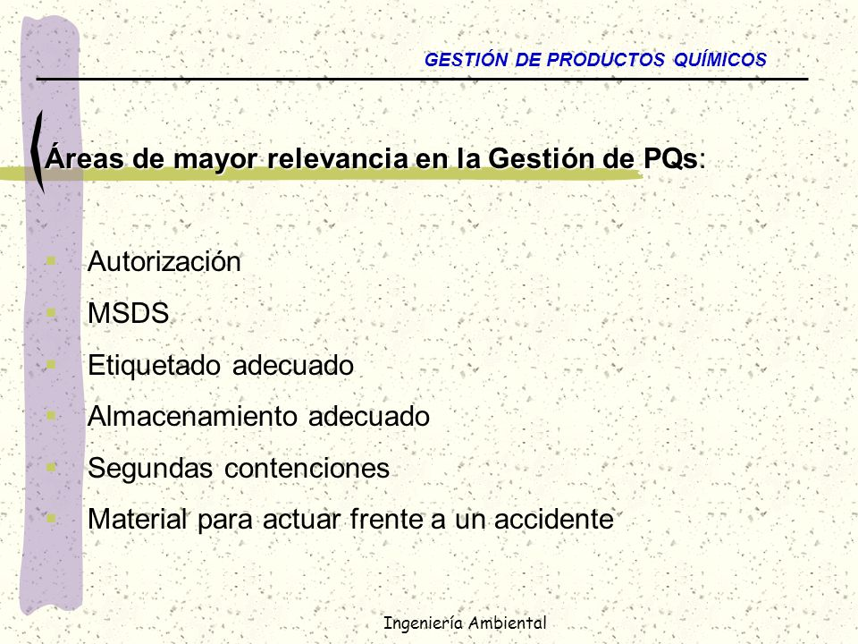 Áreas de mayor relevancia en la Gestión de PQs:
