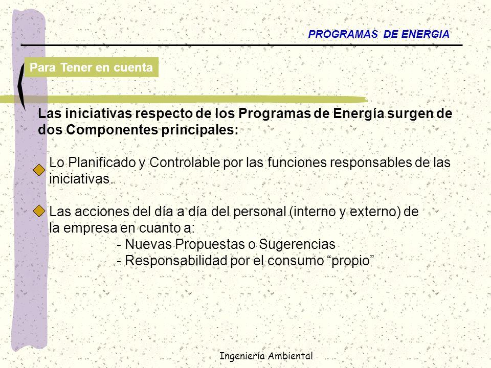Las iniciativas respecto de los Programas de Energía surgen de