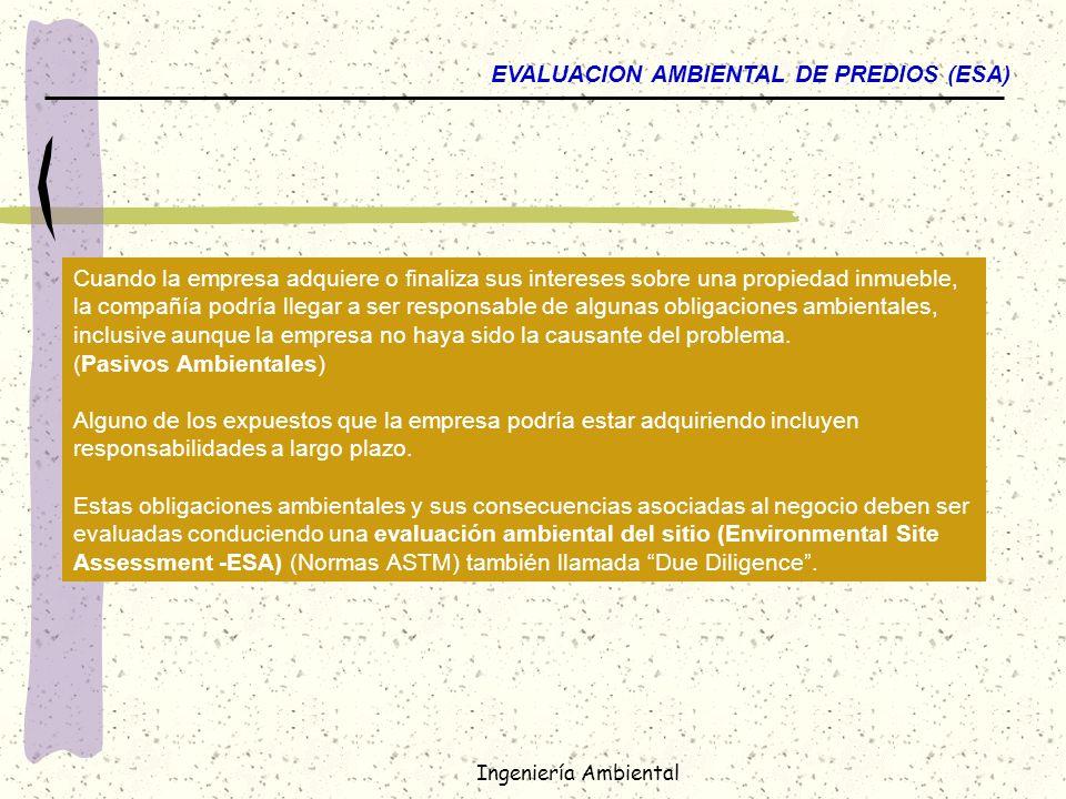 EVALUACION AMBIENTAL DE PREDIOS (ESA)