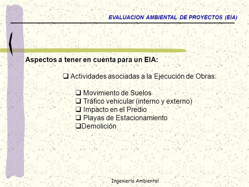 Aspectos a tener en cuenta para un EIA:
