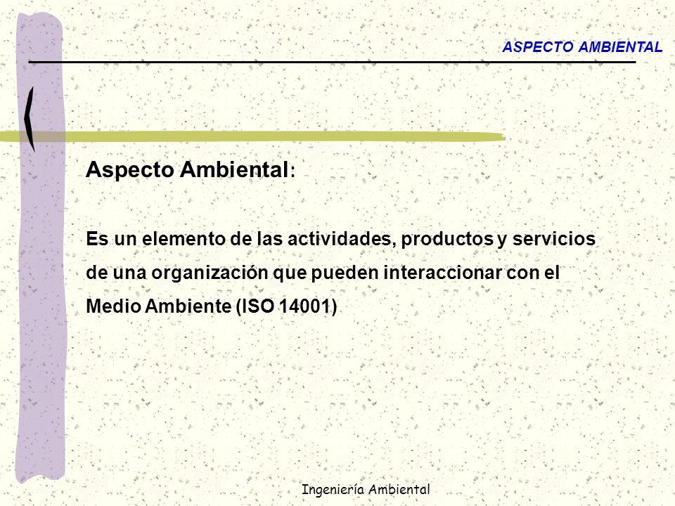 ASPECTO AMBIENTAL Aspecto Ambiental: Es un elemento de las actividades, productos y servicios. de una organización que pueden interaccionar con el.