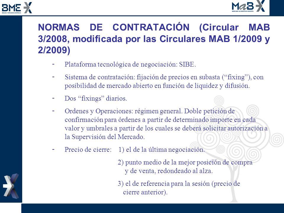NORMAS DE CONTRATACIÓN (Circular MAB 3/2008, modificada por las Circulares MAB 1/2009 y 2/2009)