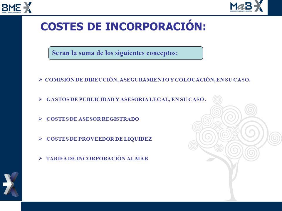 COSTES DE INCORPORACIÓN: