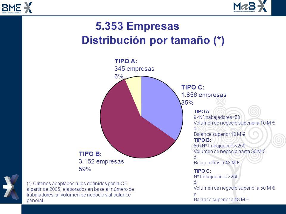 Distribución por tamaño (*)
