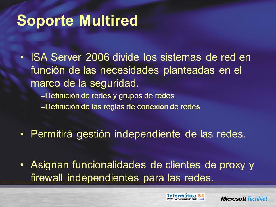 Soporte Multired ISA Server 2006 divide los sistemas de red en función de las necesidades planteadas en el marco de la seguridad.