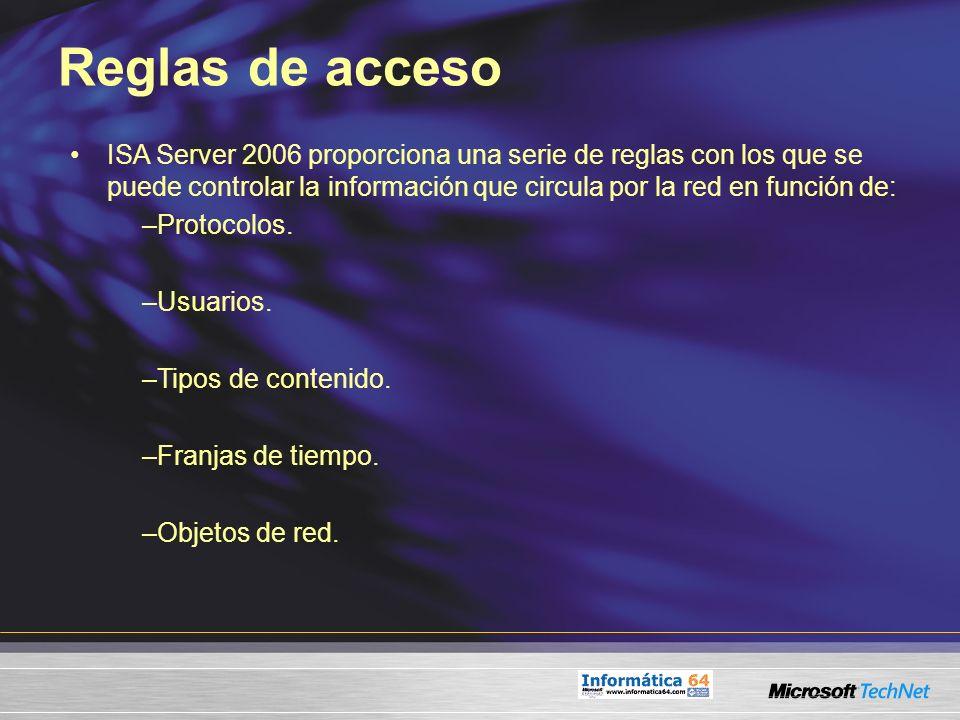 Reglas de acceso ISA Server 2006 proporciona una serie de reglas con los que se puede controlar la información que circula por la red en función de: