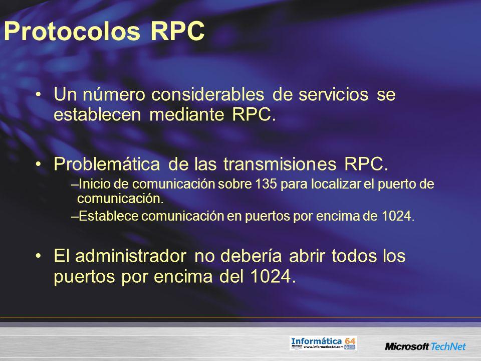 Protocolos RPC Un número considerables de servicios se establecen mediante RPC. Problemática de las transmisiones RPC.
