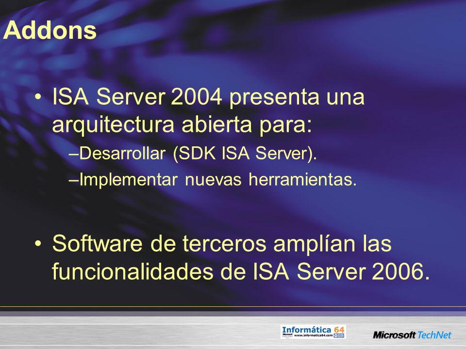 Addons ISA Server 2004 presenta una arquitectura abierta para: