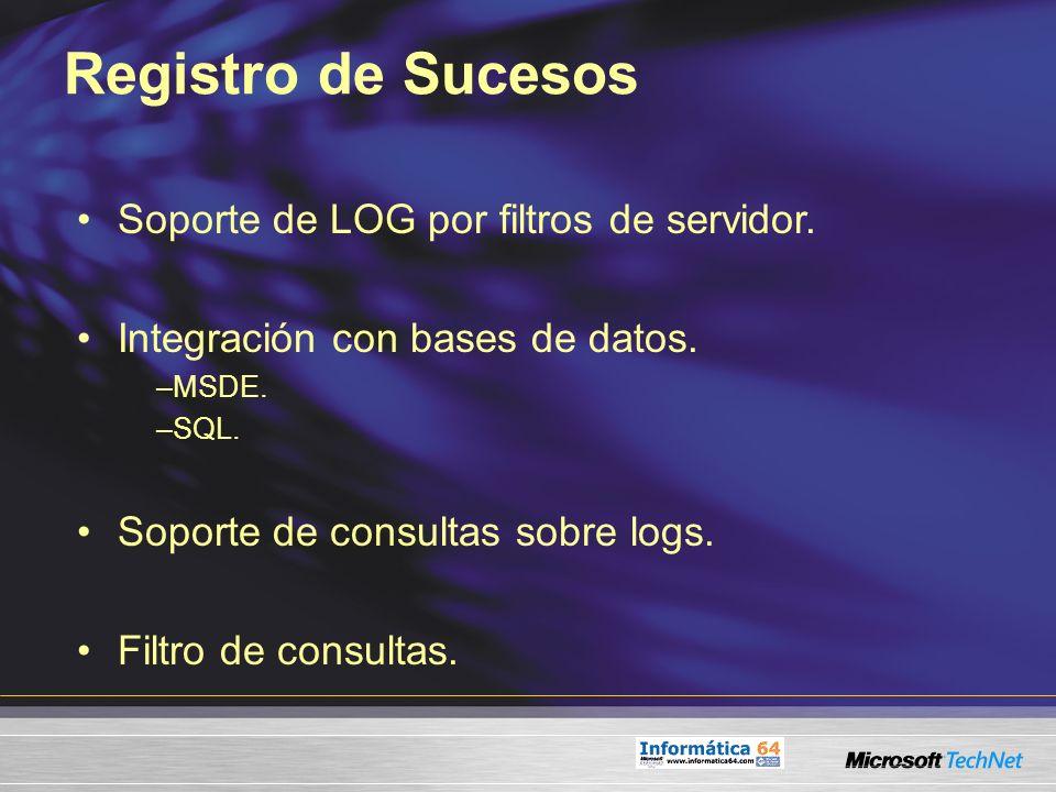 Registro de Sucesos Soporte de LOG por filtros de servidor.