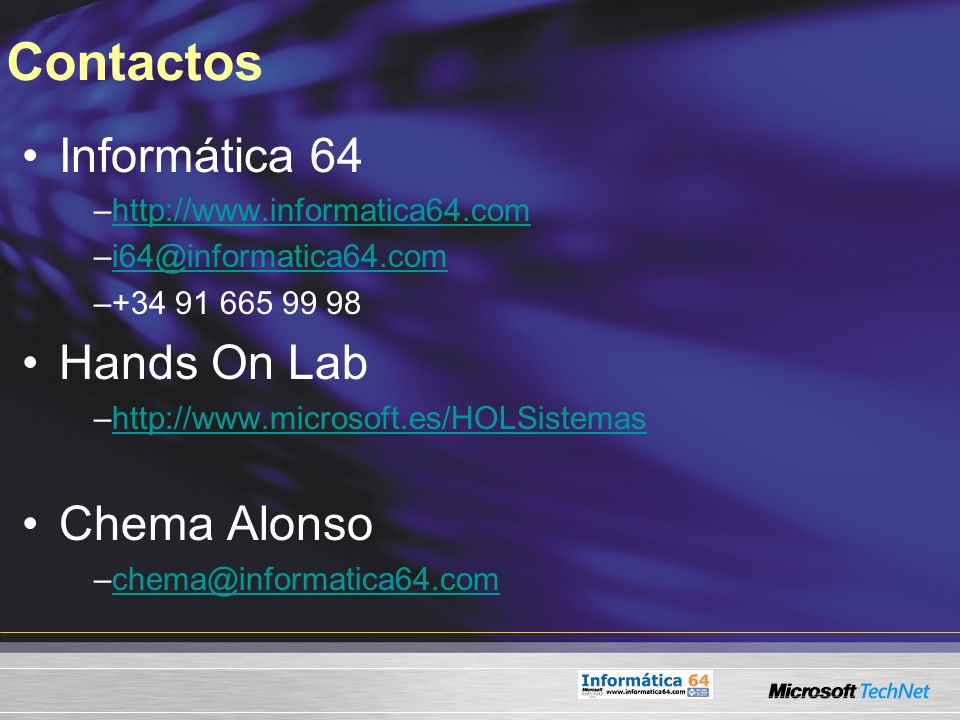 Contactos Informática 64 Hands On Lab Chema Alonso