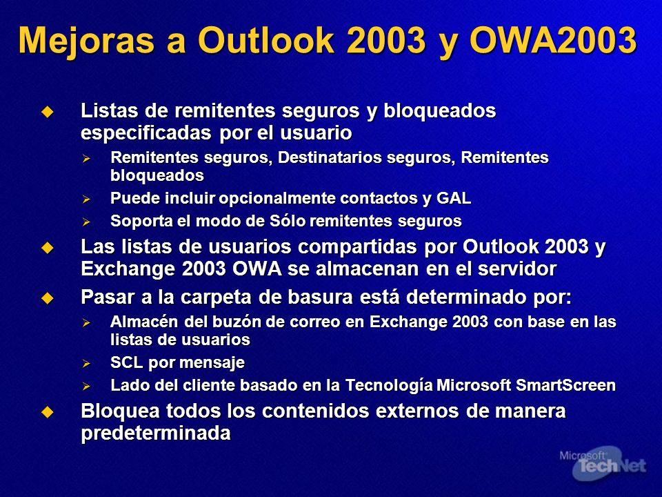 3/24/2017 3:56 PM Mejoras a Outlook 2003 y OWA2003. Listas de remitentes seguros y bloqueados especificadas por el usuario.