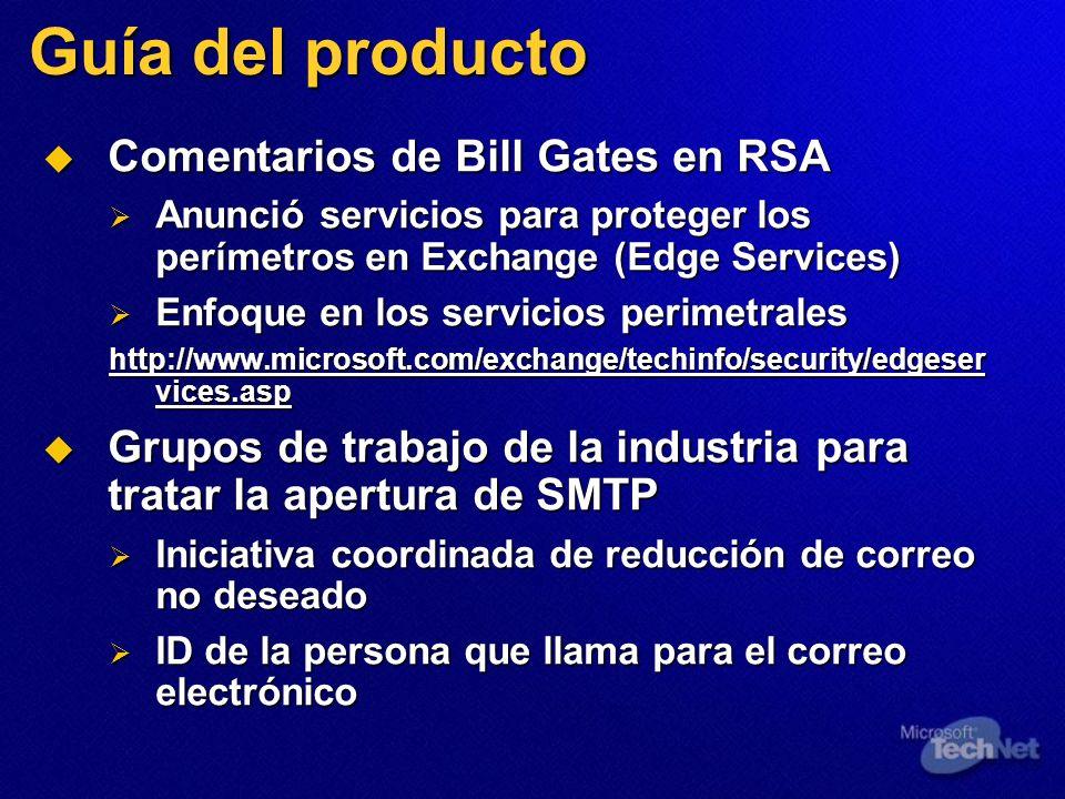 Guía del producto Comentarios de Bill Gates en RSA