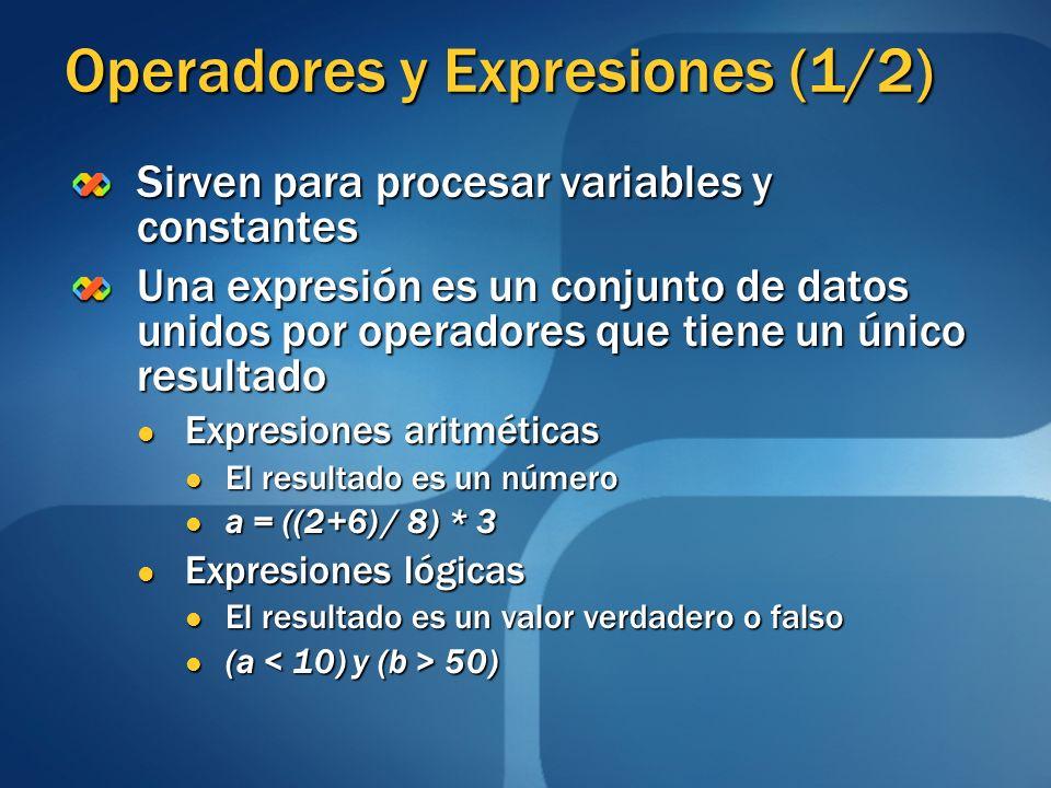 Operadores y Expresiones (1/2)