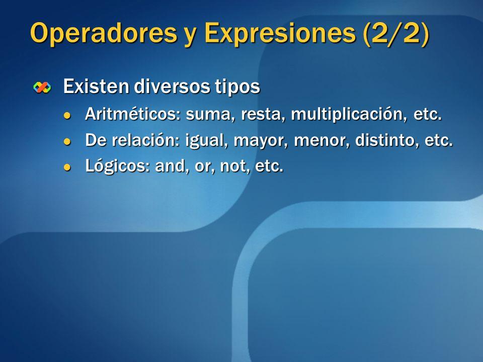 Operadores y Expresiones (2/2)