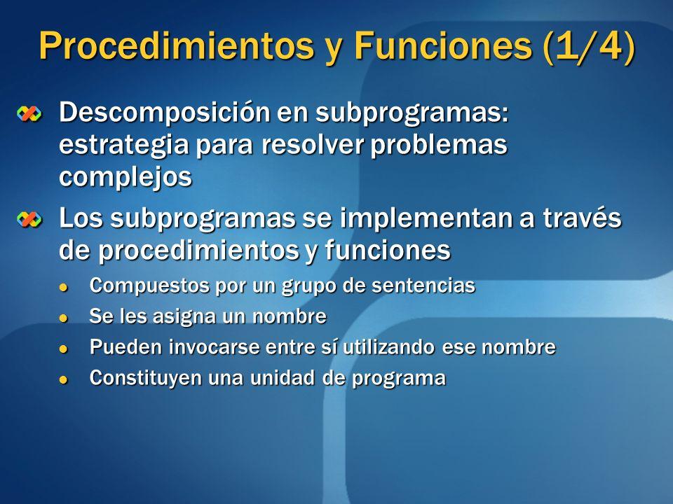Procedimientos y Funciones (1/4)