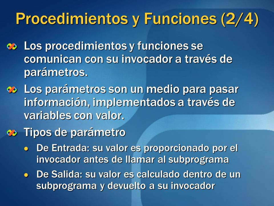 Procedimientos y Funciones (2/4)