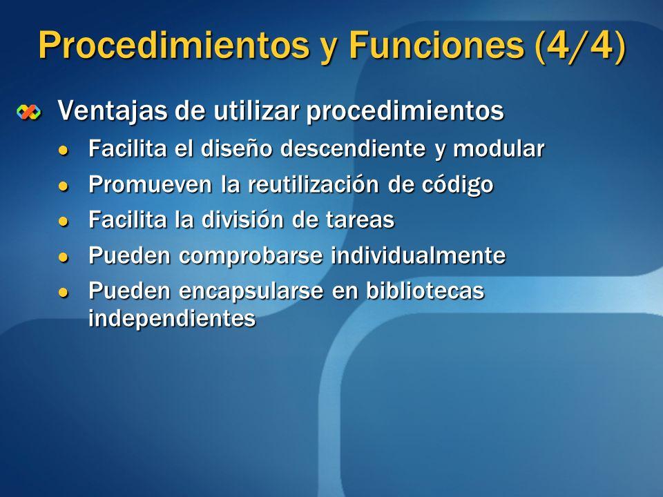 Procedimientos y Funciones (4/4)