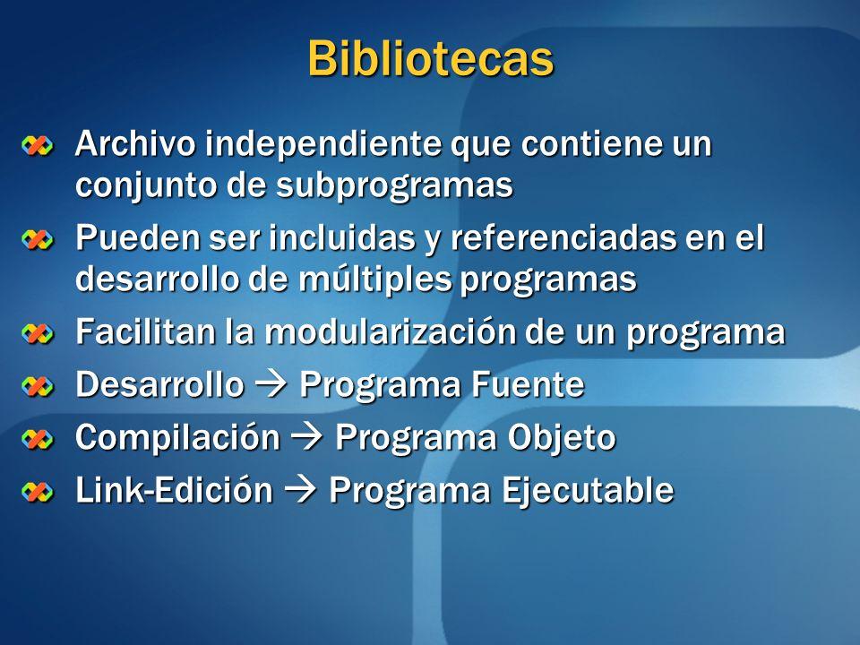 Bibliotecas Archivo independiente que contiene un conjunto de subprogramas.
