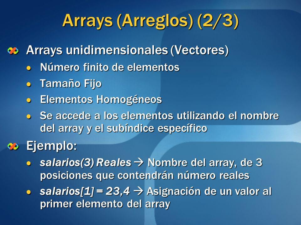 Arrays (Arreglos) (2/3) Arrays unidimensionales (Vectores) Ejemplo: