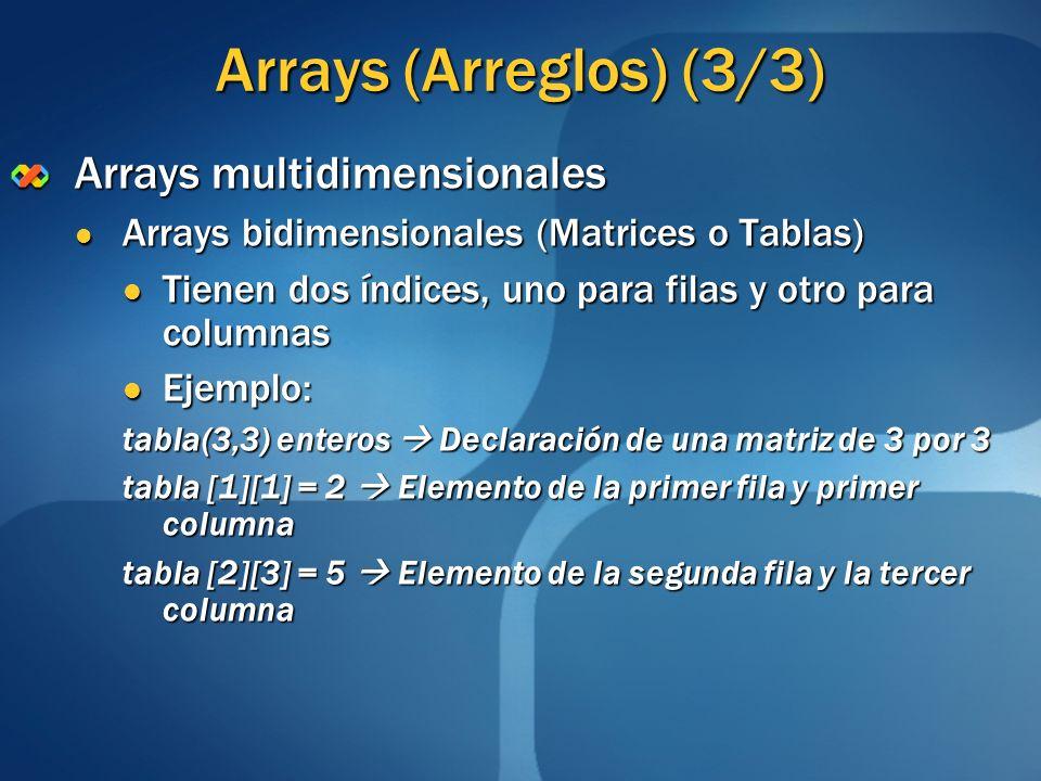 Arrays (Arreglos) (3/3) Arrays multidimensionales