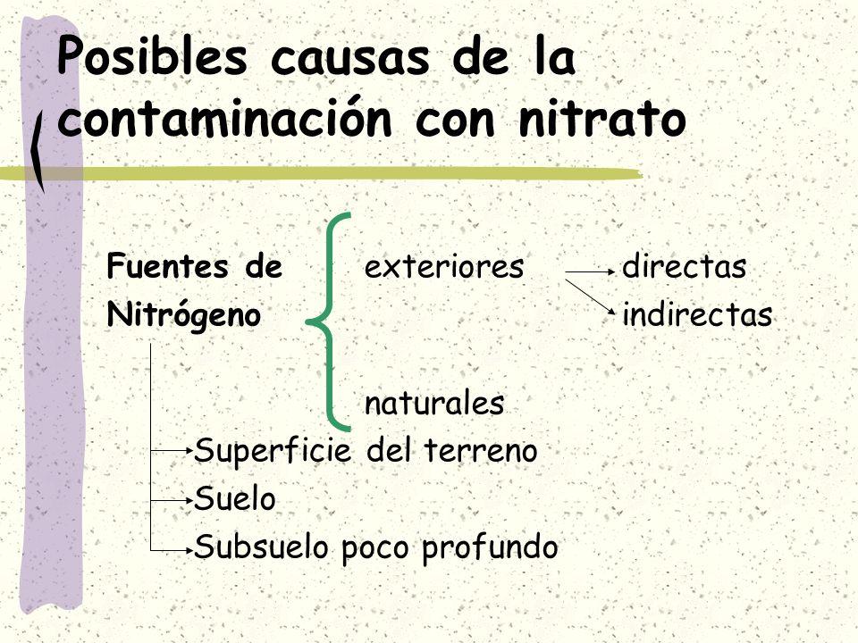 Posibles causas de la contaminación con nitrato