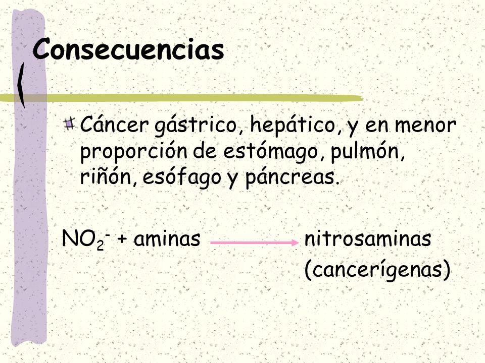 ConsecuenciasCáncer gástrico, hepático, y en menor proporción de estómago, pulmón, riñón, esófago y páncreas.