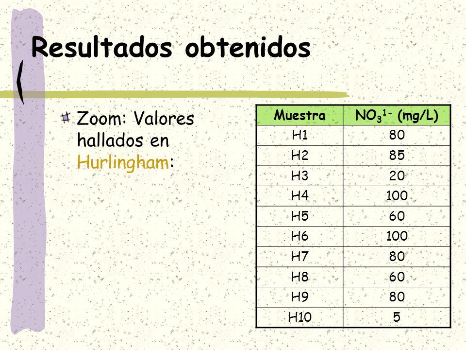 Resultados obtenidos Zoom: Valores hallados en Hurlingham: Muestra