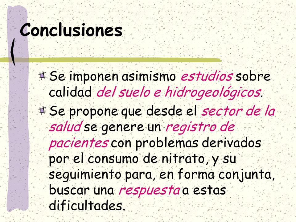 Conclusiones Se imponen asimismo estudios sobre calidad del suelo e hidrogeológicos.