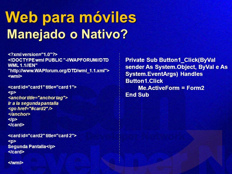 Web para móviles Manejado o Nativo