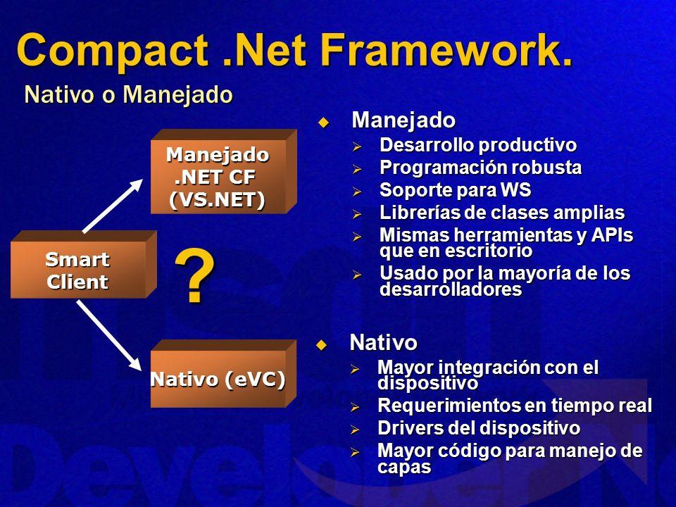 Compact .Net Framework. Nativo o Manejado Manejado Nativo