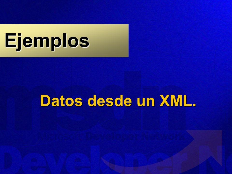 Ejemplos Datos desde un XML.