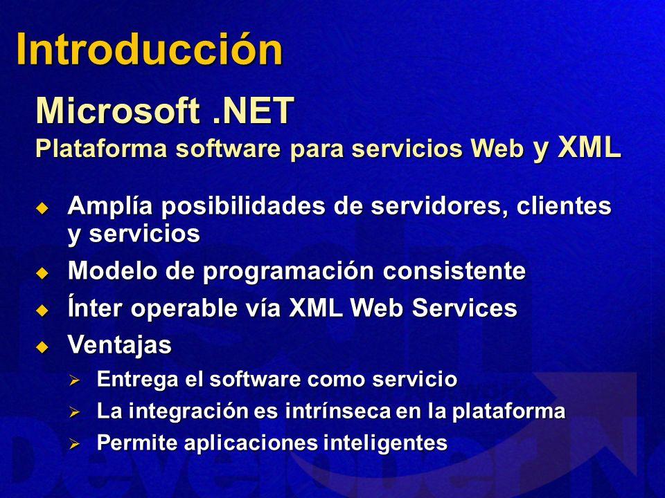 Introducción Microsoft .NET Plataforma software para servicios Web y XML. Amplía posibilidades de servidores, clientes y servicios.