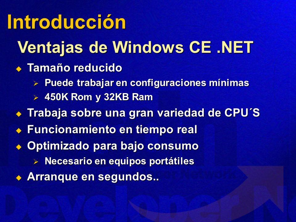 Introducción Ventajas de Windows CE .NET Tamaño reducido