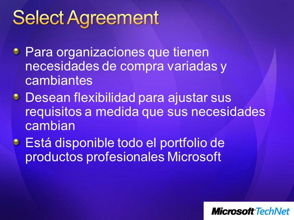 Select Agreement Para organizaciones que tienen necesidades de compra variadas y cambiantes.
