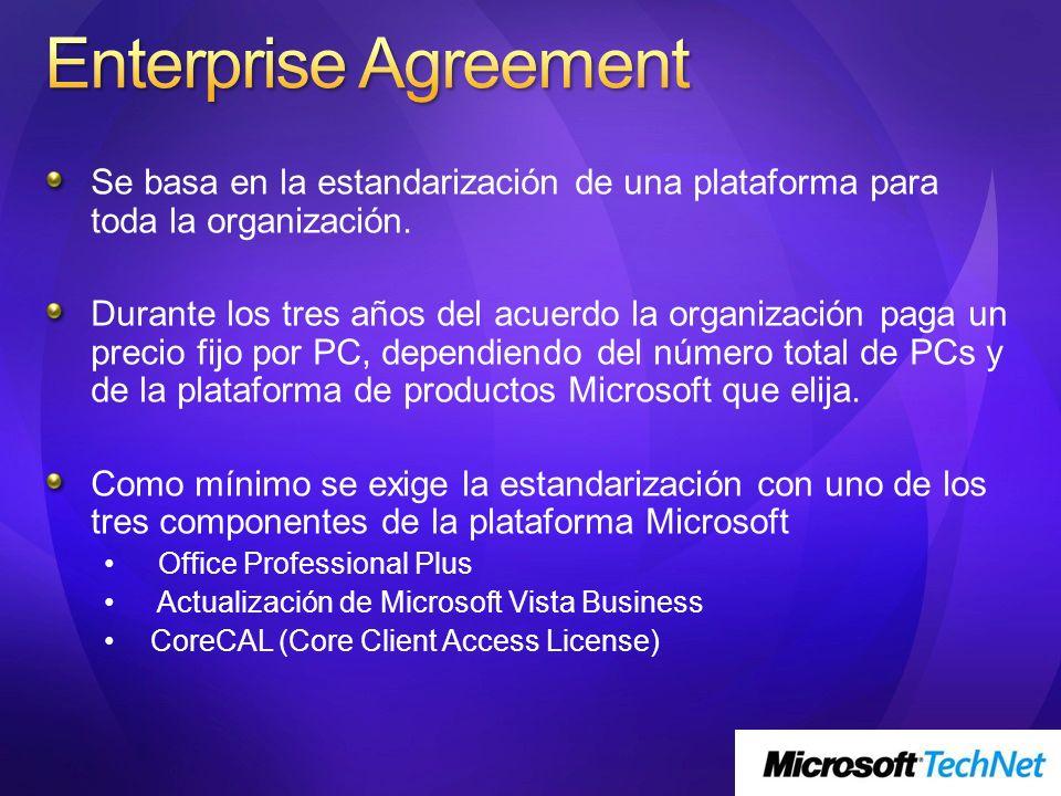 Enterprise Agreement Se basa en la estandarización de una plataforma para toda la organización.