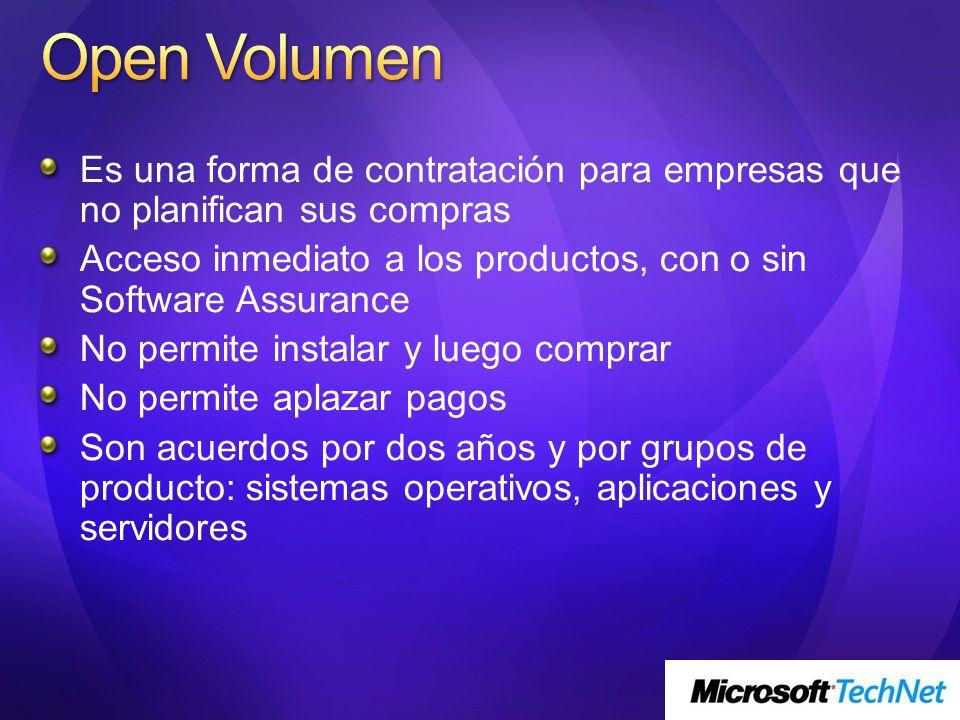 Open Volumen Es una forma de contratación para empresas que no planifican sus compras.