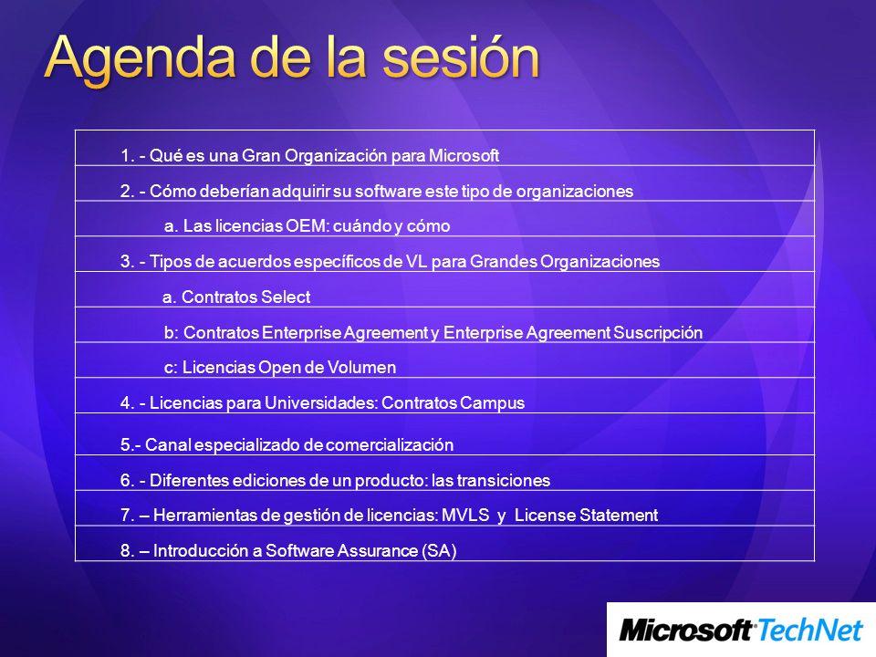 Agenda de la sesión 1. - Qué es una Gran Organización para Microsoft