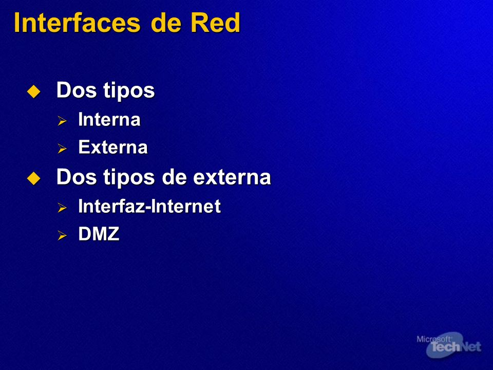 Interfaces de Red Dos tipos Dos tipos de externa Interna Externa