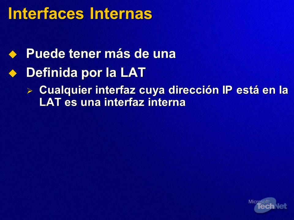 Interfaces Internas Puede tener más de una Definida por la LAT