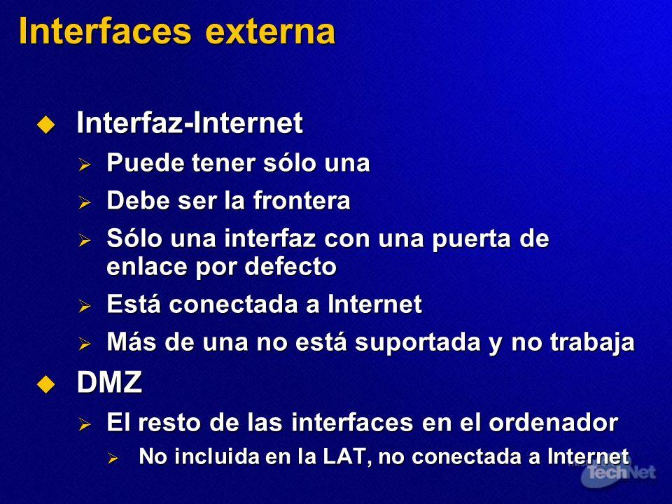 Interfaces externa Interfaz-Internet DMZ Puede tener sólo una