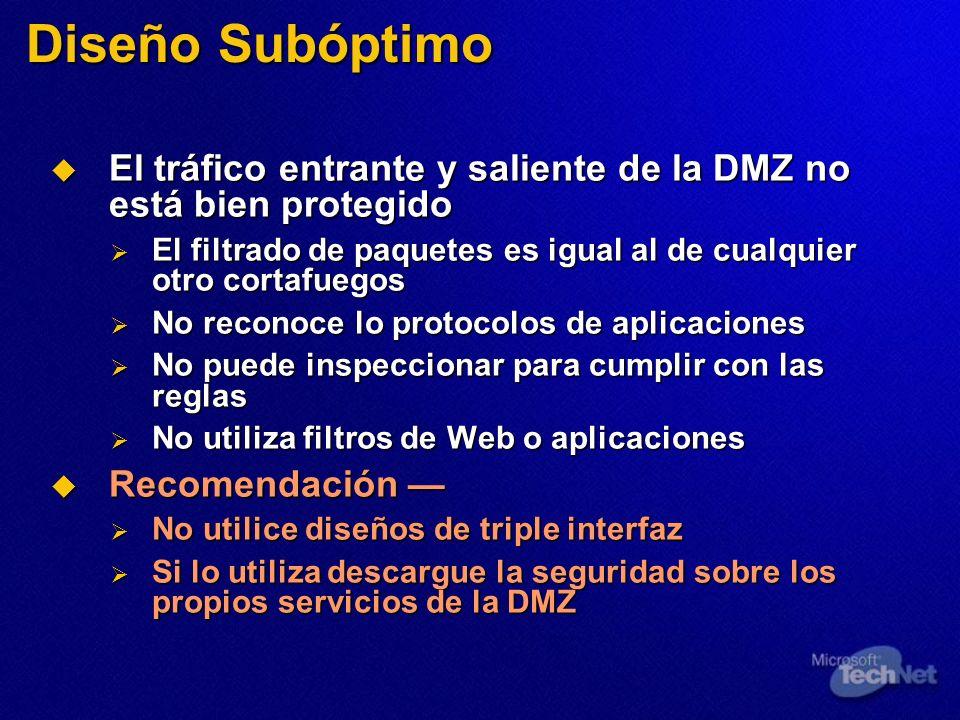 Diseño Subóptimo El tráfico entrante y saliente de la DMZ no está bien protegido. El filtrado de paquetes es igual al de cualquier otro cortafuegos.