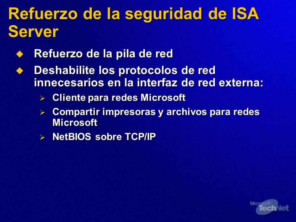 Refuerzo de la seguridad de ISA Server