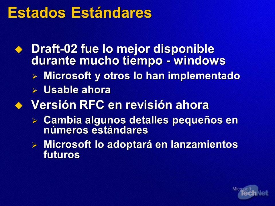 Estados Estándares Draft-02 fue lo mejor disponible durante mucho tiempo - windows. Microsoft y otros lo han implementado.