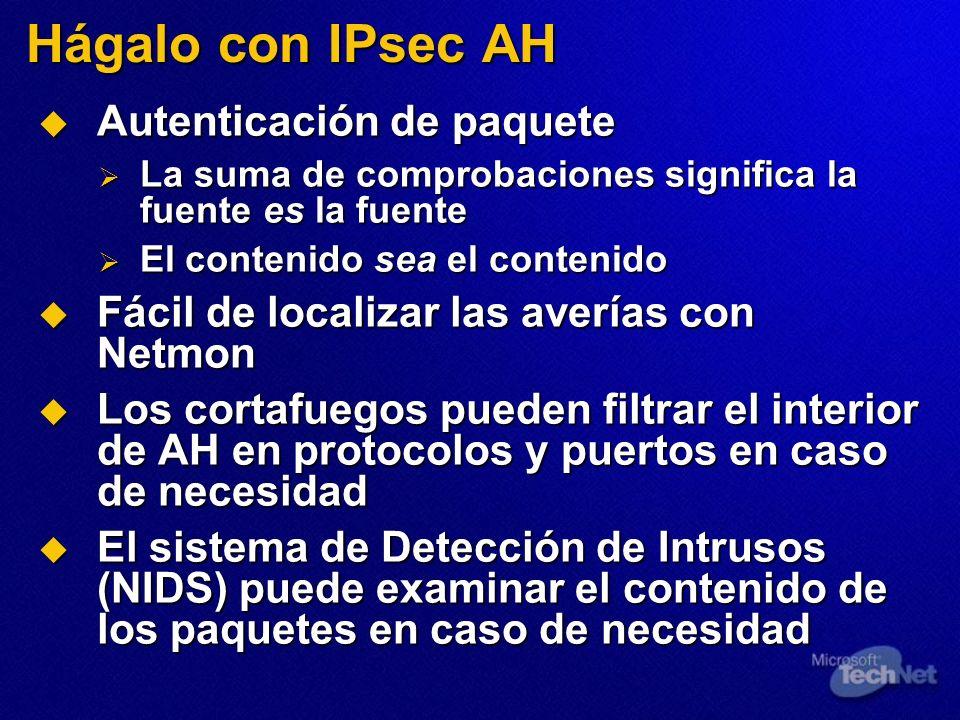 Hágalo con IPsec AH Autenticación de paquete