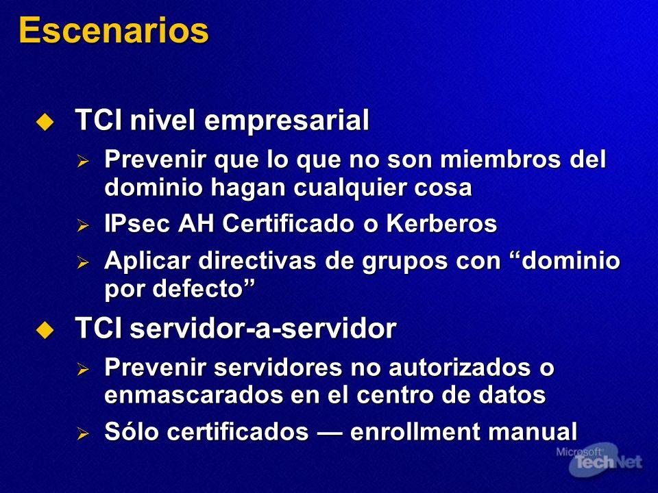 Escenarios TCI nivel empresarial TCI servidor-a-servidor