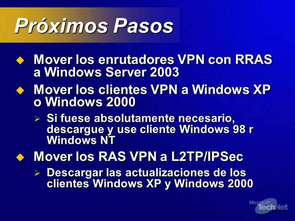 Próximos Pasos Mover los enrutadores VPN con RRAS a Windows Server 2003. Mover los clientes VPN a Windows XP o Windows 2000.