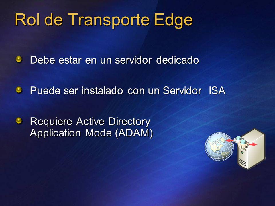 Rol de Transporte Edge Debe estar en un servidor dedicado