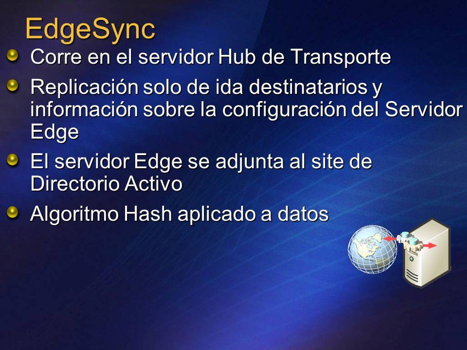 EdgeSync Corre en el servidor Hub de Transporte