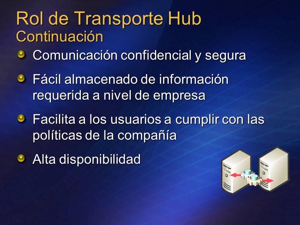 Rol de Transporte Hub Continuación