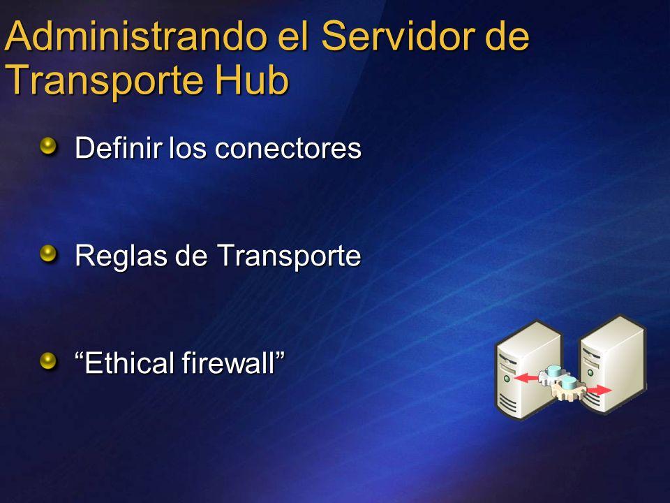 Administrando el Servidor de Transporte Hub